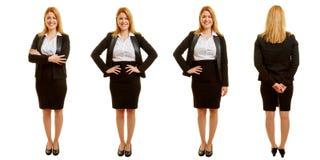 Verschiedene Haltungen einer Geschäftsfrau im Satz Stockfoto