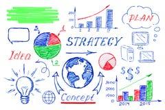 Verschiedene Hand gezeichnete Geschäftssymbole lokalisiert auf Weiß lizenzfreies stockfoto