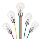 Verschiedene Ideen - Glühlampe-Konzept getrennt Lizenzfreies Stockbild