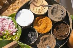 Verschiedene indische Gewürze im runden Teller Stockbilder