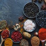 Verschiedene indische Gewürze, Nüsse und Kräuter in den hölzernen Löffeln und in den Metallschüsseln Stockfotos