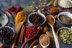 Verschiedene indische Gewürze, Nüsse und Kräuter in den hölzernen Löffeln und in den Metallschüsseln Stockbild