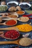 Verschiedene indische Gewürze, Nüsse und Kräuter in den hölzernen Löffeln und in den Metallschüsseln Stockfotografie