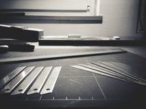 Verschiedene Instrumente eines Architekten stockfotografie