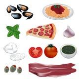 Italienische Nahrungsmittelvektorillustration Stockfotografie