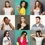 Verschiedene junge Leute positiv und negative Gefühle eingestellt stockbilder