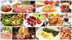Verschiedene köstliche Lebensmittelrezeptcollage stock footage