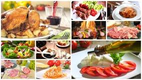 Verschiedene köstliche Lebensmittelrezeptcollage stock video footage