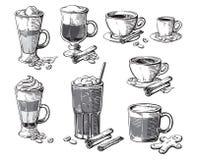 Verschiedene Kaffeegetränke lokalisiert Glace Latte americano irisches frappe Kakao Espresso macchiato Schokolade ristretto Mokka vektor abbildung