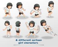 8 verschiedene Karikaturmädchencharaktere vektor abbildung