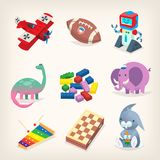 Verschiedene klassische Spielwaren für Kinder Stockbilder