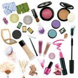 Verschiedene Kosmetik getrennt auf weißem Hintergrund Lizenzfreies Stockfoto