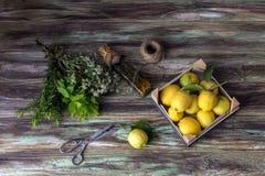 Verschiedene Kräuter, Gewürze, Zitronen und Olivenöl auf einem hölzernen Hintergrund lizenzfreie stockbilder