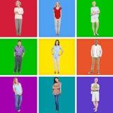 9 verschiedene Leute auf buntem Hintergrund Lizenzfreies Stockfoto