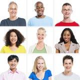 9 verschiedene Leute auf weißem Hintergrund Lizenzfreie Stockfotos