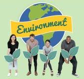 Verschiedene Leute mit Klimaerhaltungskonzeptikonen lizenzfreie stockfotos