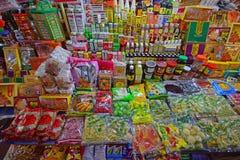 Verschiedene lokale Produkte verkauften in einem Stall in Chowrasta-Markt Penang lizenzfreies stockfoto