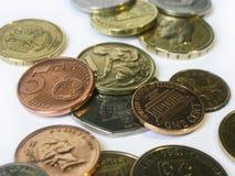 Verschiedene Münzen aus verschiedenen Ländern Stockfoto