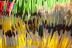 Verschiedene Malerpinselsammlung Buntes Briefpapier Lizenzfreies Stockfoto