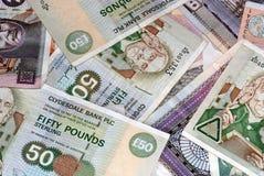 Verschiedene Mengen der schottischen Banknoten Stockfoto