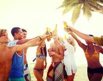Verschiedene multiethnische Leute, die Gläser Partying und geröstet worden sein würden Stockbilder