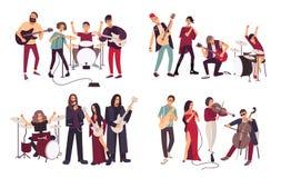 Verschiedene musikalische Bänder Indie, Metall, punk rock, Jazz, Kabarett Junge Künstler, Musiker, die Musik singen und spielen stock abbildung