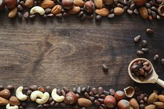 Verschiedene Nüsse auf einem Holztisch Zeder, Acajoubaum, Haselnuss, walnu Lizenzfreies Stockbild