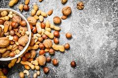 Verschiedene Nüsse in einer Schüssel Lizenzfreies Stockfoto