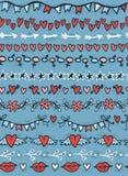 Verschiedene nahtlose Grenzen mit Herzen, Sterne, Lippen, Pfeil-ADN blüht Lizenzfreie Stockfotografie