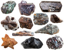 Verschiedene natürliche Felsen und Steine lokalisiert Stockbild