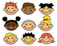 Verschiedene Nationalitäten der Gesichter der Karikaturkinder Lizenzfreie Stockfotos