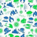 Verschiedene Naturkatastropheprobleme im nahtlosen Muster eps10 der Weltikonen Stockfoto
