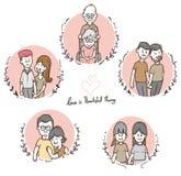 Verschiedene Paare der netten Karikatur Satz, Mischrasse und homosexuelles, LGBT-Konzeptillustration, Vektor vektor abbildung