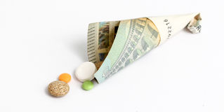 Verschiedene Pillen, tablettes, Kapseln auf whte Hintergrund Lizenzfreies Stockfoto