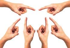 Verschiedene Positionen von Händen Stockfoto