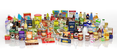 Verschiedene Produkte des Lebensmittelgeschäfts 3D lizenzfreie abbildung
