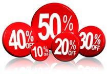 Verschiedene Prozentsätze in den roten Kreisen Stockfoto