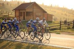 Verschiedene Radfahrer von den verschiedenen Teams bei Paltinis, Rumänien stockfotos