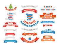 Verschiedene Retrostilweihnachtsbänder eingestellt Stockbilder
