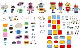 Verschiedene Roboter und Ersatzteile Stockfoto