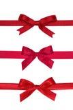 Verschiedene rote Geschenkbögen. Stockbild