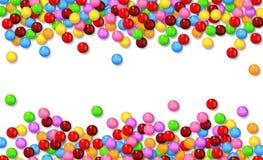Verschiedene süße Süßigkeiten auf weißem Hintergrund Lizenzfreie Stockfotos