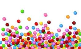 Verschiedene süße Süßigkeiten auf weißem Hintergrund Stockbilder