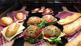 Verschiedene Sandwich-Anzeige stockfoto