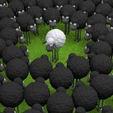 Verschiedene Schafe des Weiß auf Illustration des grünen Grases 3d Stockfotografie