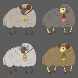 Verschiedene Schafe mit Glockensammlung Stockfotos