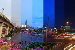 Verschiedene Schattenfarben der unterschiedlichen Zeit im gleichen Rahmen am Siegmonument Lizenzfreie Stockfotos