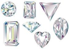 Verschiedene Schnittdiamanten Stockbild