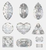 Verschiedene Schnitte von Diamanten Stockbild
