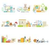 Verschiedene Schulklasse-und Wissenschafts-in Verbindung stehende Gegenstände Cmpositions Lizenzfreie Stockfotos